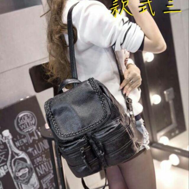 新貨到~ 實拍~2016 韓東大門系 水洗編織PU 雙肩包後背包有4 款