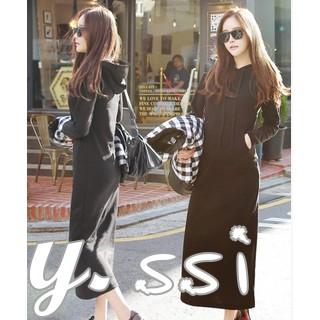 韓國 款超顯瘦連帽休閒連身長裙長袖洋裝