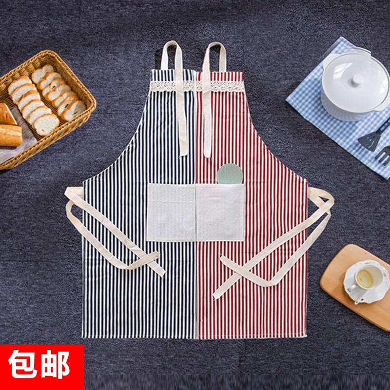 滿199 發貨n n 包郵日式全棉麻布藝圍裙地中海風格條紋雙口袋廚房家居工作服
