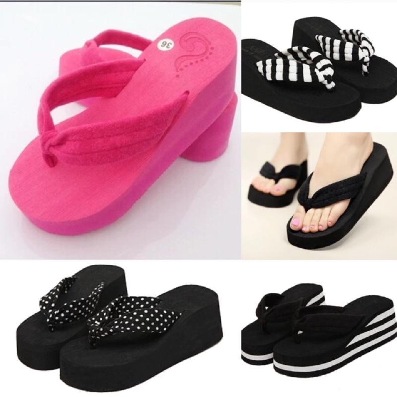 鬆糕中坡跟防滑厚底人字拖坡跟夾腳拖鞋沙灘鞋涼拖鞋女