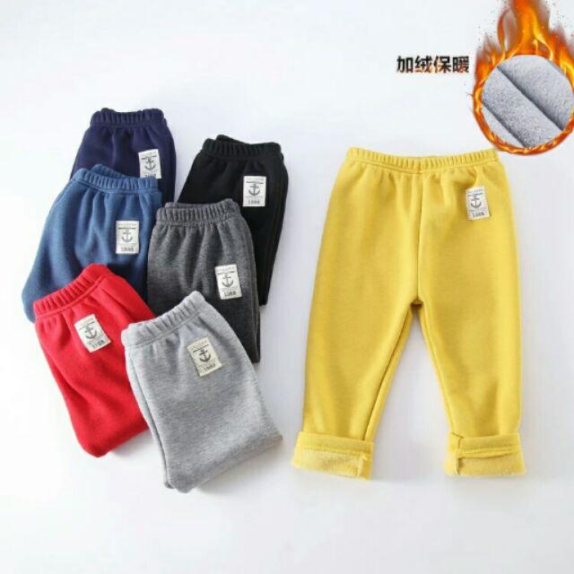 男童女童加絨長褲 秋裝 裝 兒童寶寶加厚 褲子保暖加絨刷毛