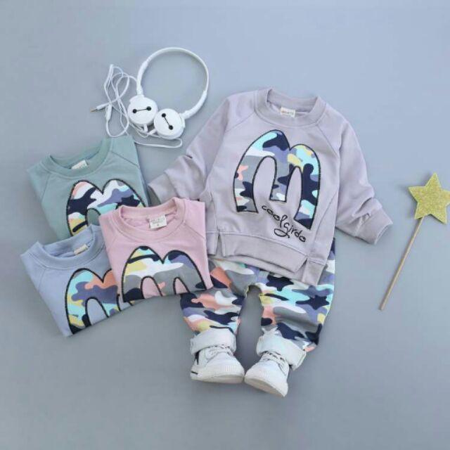男女童秋裝寶寶純棉迷彩全棉套裝M 字母休閒潮流衣服