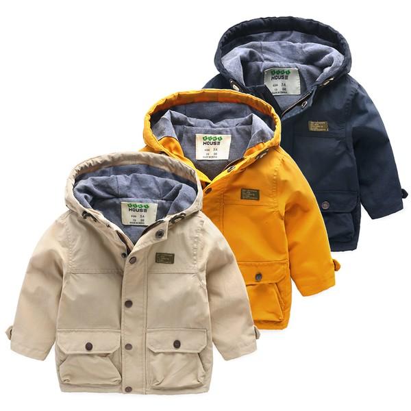 :::008 童衣:::日韓2016  秋裝兒童寶寶連帽休閒多口袋風衣帥氣夾克三色黃藍米