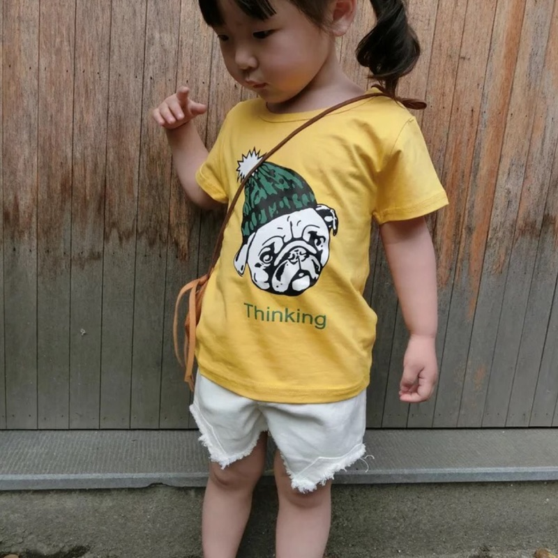 蓁誠 男童女童兒童寶寶小童可愛兩件式狗狗字母印花短袖圓領T 恤上衣牛仔短褲鬆緊腰套裝