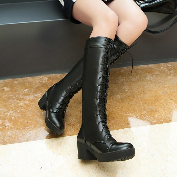 獨一無二๑專營店๑2016  系帶馬丁靴 COS 高筒靴粗跟中跟圓頭厚底女靴大碼