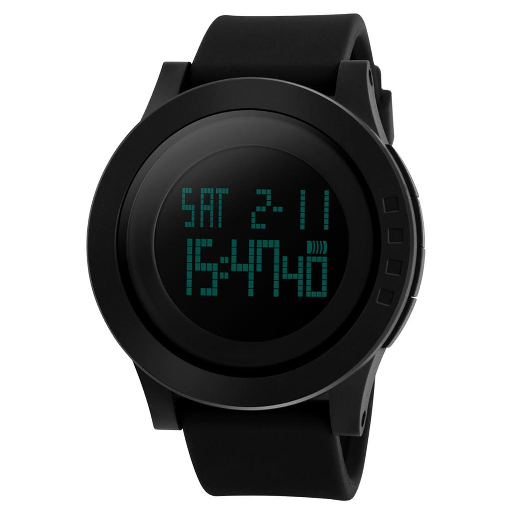 SKMEI 戶外 電子錶防水LED 手錶黑色