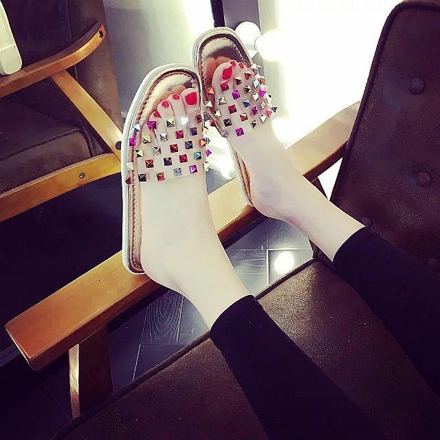 2016  彩色鉚釘涼鞋舒適平底平跟水鑽女鞋露趾涼拖沙灘拖鞋