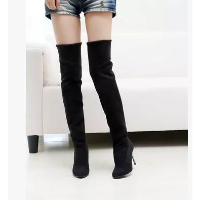 ☞米蘭 ☜2016 秋 彈力絨長靴子 百搭高跟細跟尖頭過膝靴性感大碼女鞋