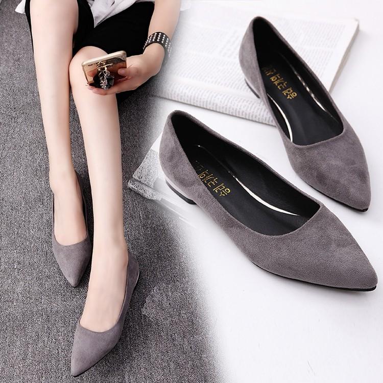 2016 春夏 淺口鞋尖頭女鞋平底粗跟單鞋低跟平跟黑色工作鞋瓢鞋