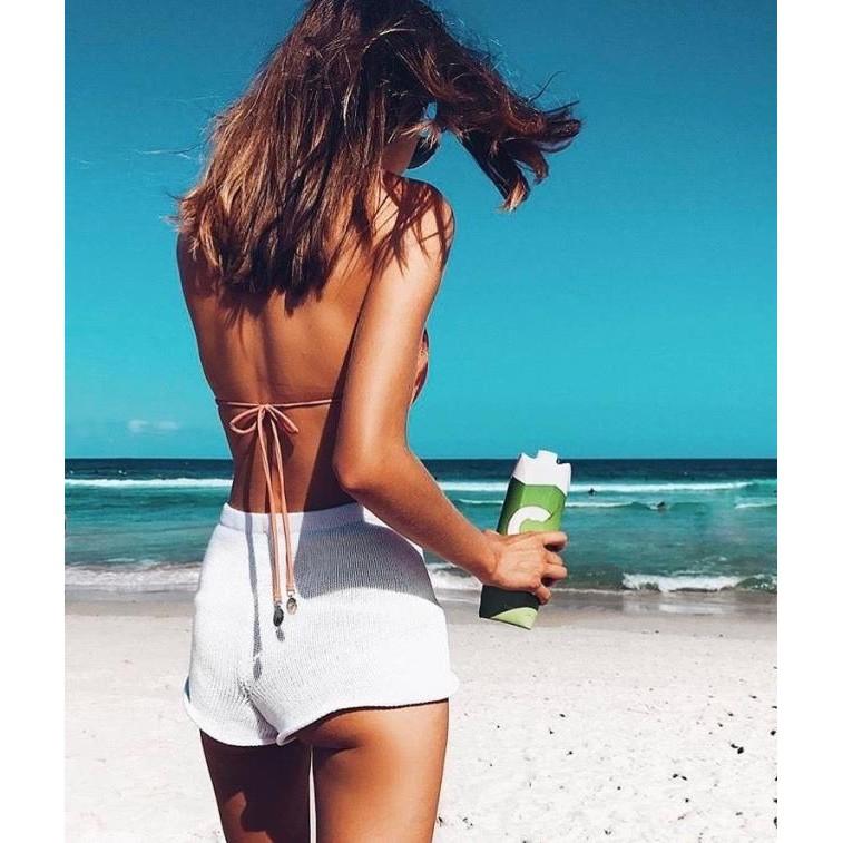 实拍女毛線 風復古百搭度假慵懶海邊比基尼穿搭高腰純色針織彈力修身自然隨意卷邊小短褲翹臀平角