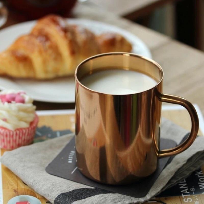 野餐趣鍍銅304 不銹鋼杯隔熱馬克杯咖啡杯牛奶杯真空鍍銅双層水杯保温茶杯