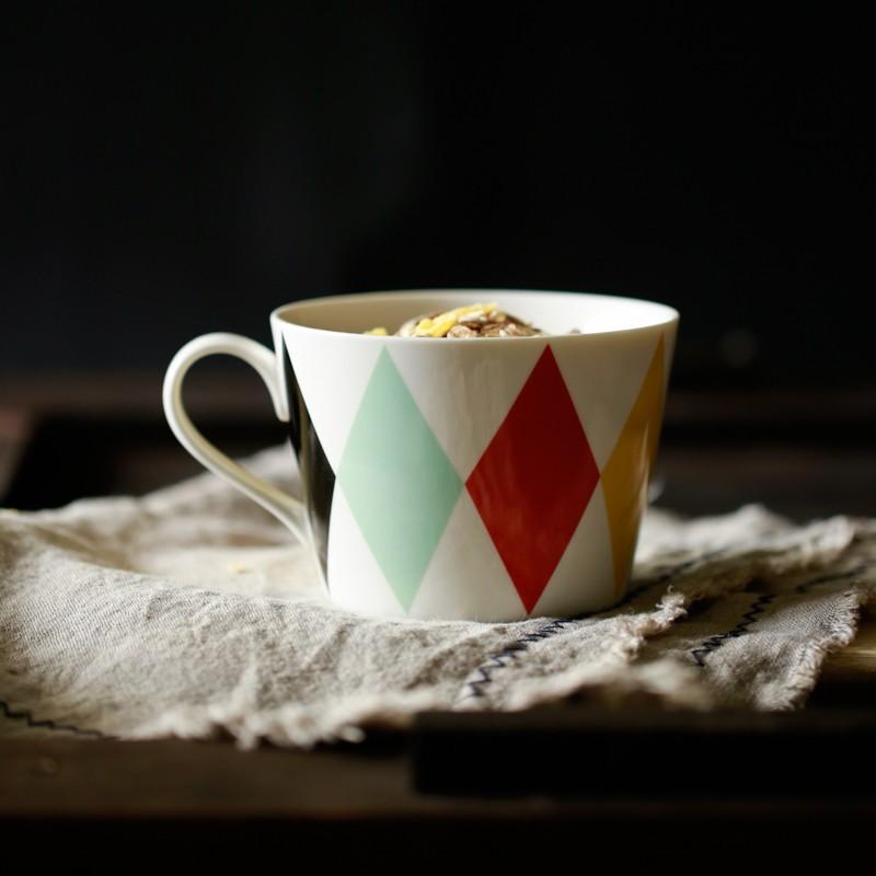 北歐簡約彩色幾何馬克杯