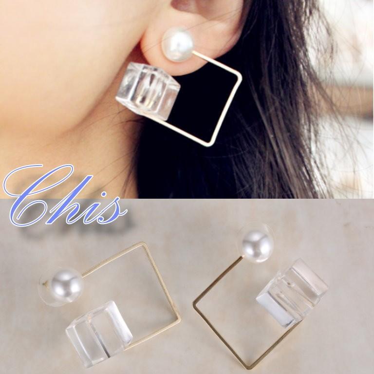 Chis Store ~正方形珍珠耳環~韓國 極簡風透明方塊冰塊感水晶簡約簡單幾何圖形耳針