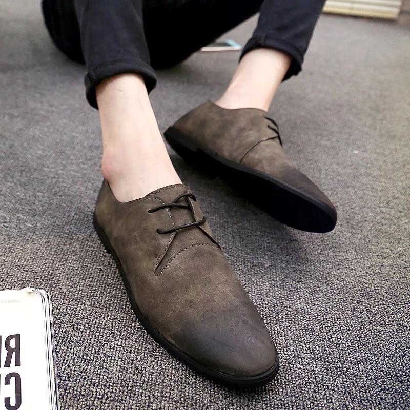 ~ ~ 英倫風男士休閒皮鞋青年復古男鞋子日系尖頭豆豆鞋小皮鞋懶人鞋潮