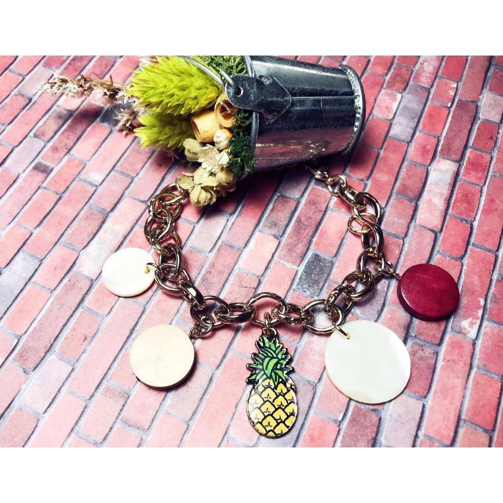 韓國鳳梨手鍊手環水果甜美可愛夏日風海邊百搭波西米亞民族風民俗風趣味belle_acc
