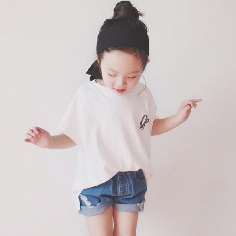 蓁誠 女童女寶兒童寶寶小童男童兩件式仙人掌刺繡短袖圓領T 恤上衣鬆緊腰破洞刷破牛仔褲短褲