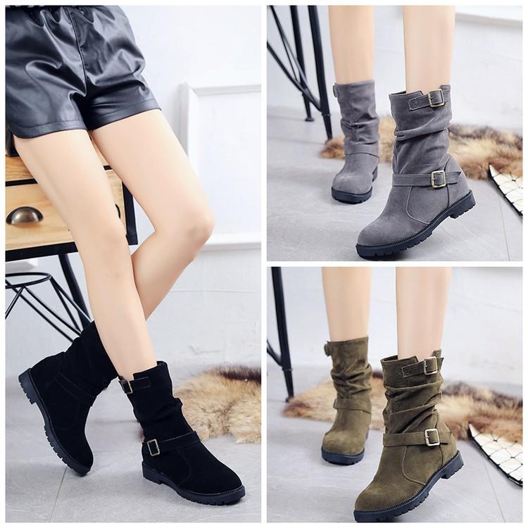 磨砂絨面女士靴子內增高中筒靴圓頭中跟短靴平底學生馬丁靴女