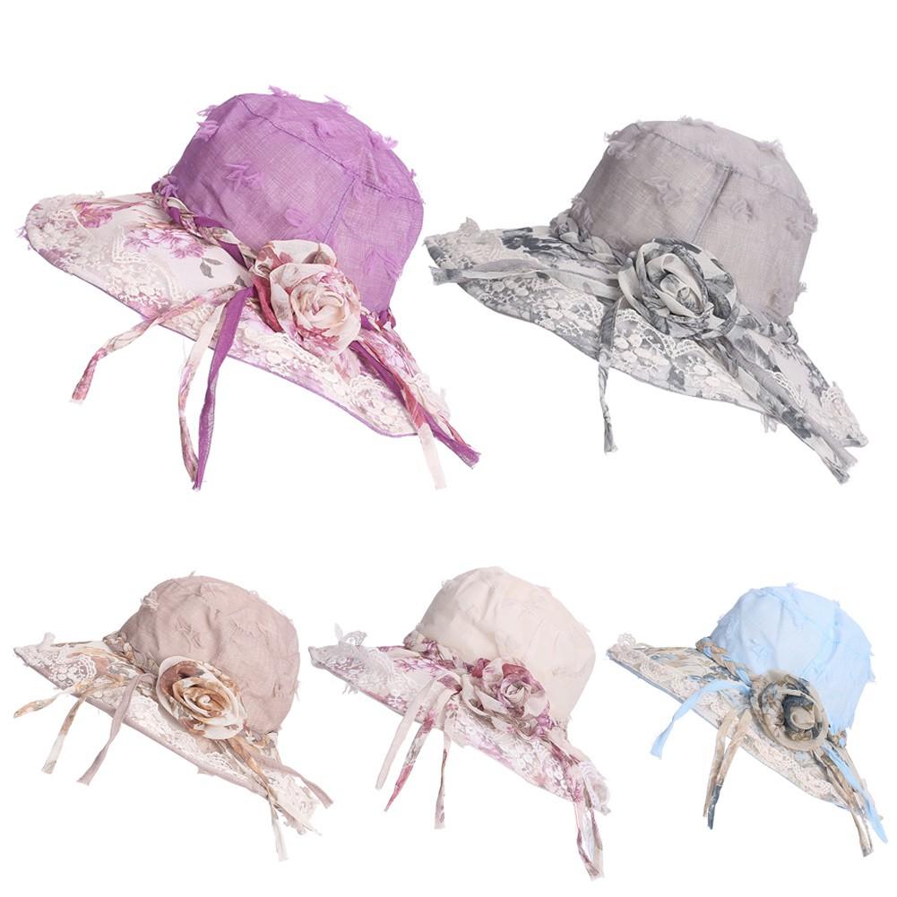 (活動價)女士 遮陽帽子包邊蕾絲花朵絲絨防紫外線布帽防曬大沿帽