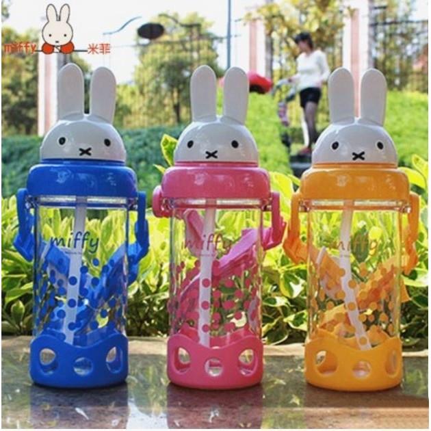 愛妮 ~Miffy 米菲兒童吸管水壺寶寶喝水杯背帶水壺學飲杯可愛卡通杯子