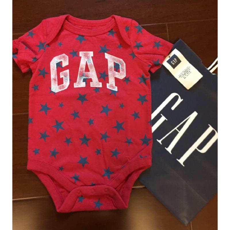 GAP 徽標logo 新生兒babygap 短袖紅色星星包屁衣包臀衣連身衣兔裝連身裝