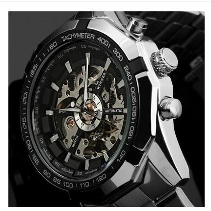 外貿爆款WINNER 正品夜光男士 鏤空腕表鋼帶全自動機械手表男表