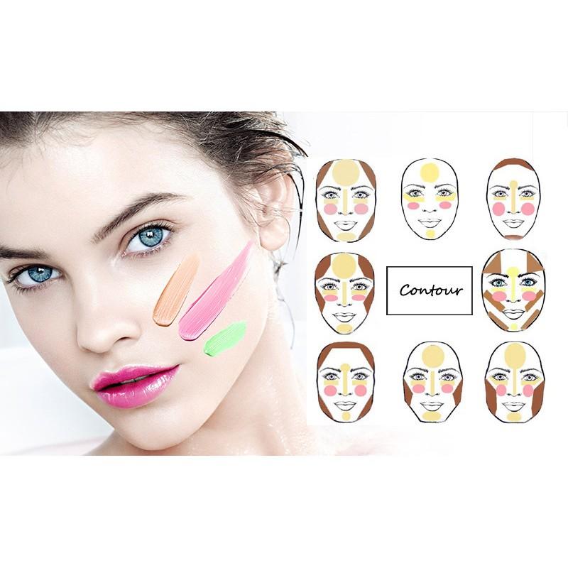 六色立體修容膏粉底膏3D 遮暇膏打底修容完美底妝