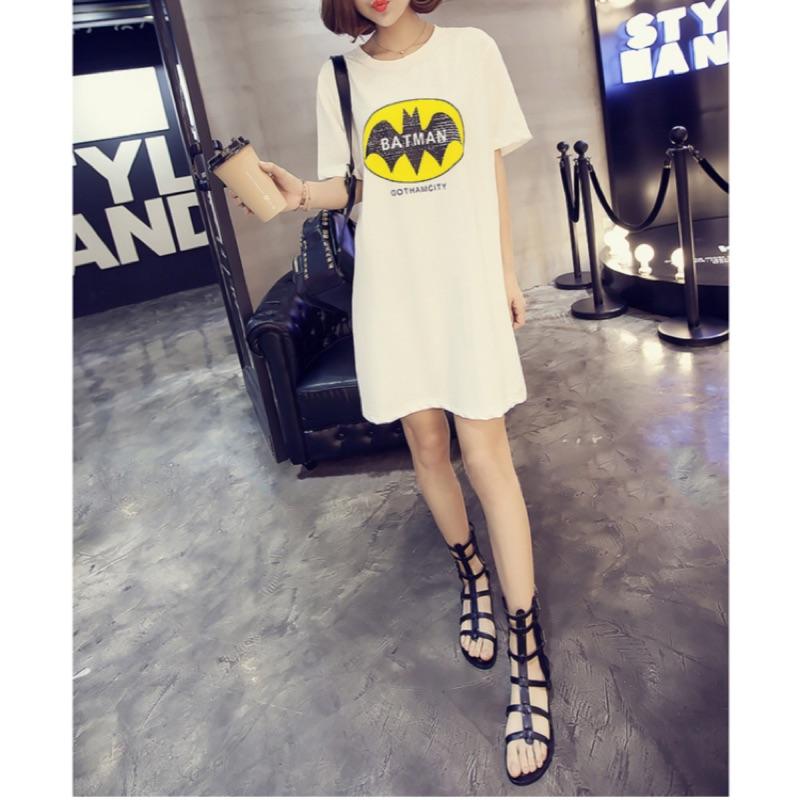 韓系中大碼蝙蝠俠休閒風格連衣裙洋裝