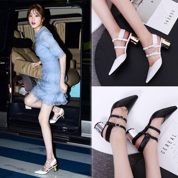 【 價 】2017  女士尖頭涼鞋鏤空高跟鞋粗跟綁帶包頭百搭女鞋子
