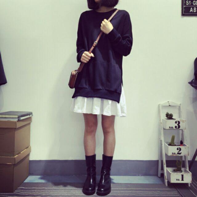 學院風純色長袖圓領中長款裙襬拼接寬鬆連衣裙
