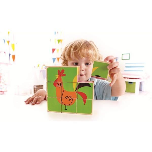德國Hape 愛傑卡農場拼圖積木八成新安全無毒木製手眼協調學齡前嬰兒嬰幼兒童小孩益智玩具