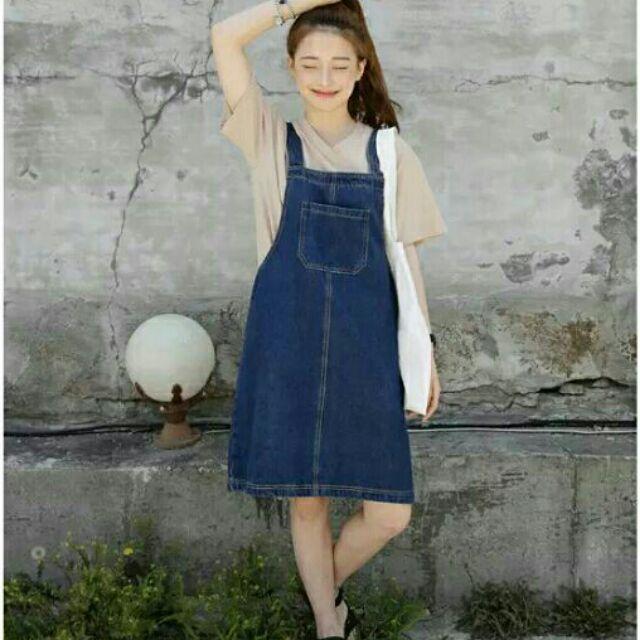 S XL 下殺夏日×田園復古田園簡約口袋 直筒五分寬鬆吊帶短裙牛仔裙丹寧裙