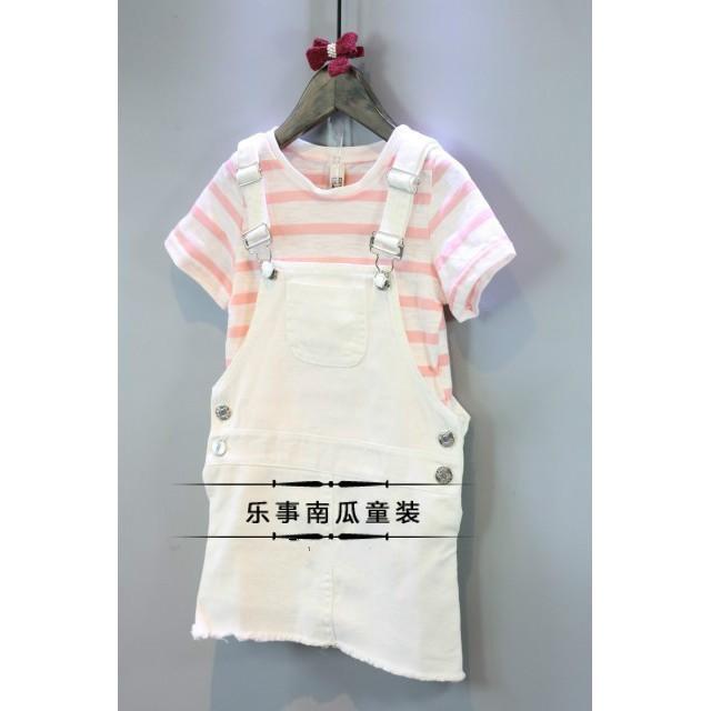 ~ ~2017 女童夏裝 條紋T 恤牛仔背帶裙兒童兩件套裝寶寶夏裝潮