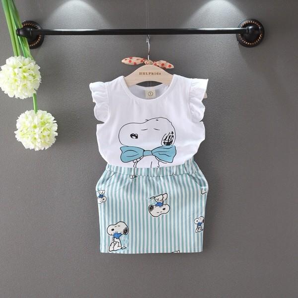 2016  女童 飛袖狗狗無袖T 恤衫裙子套裝寶寶兩件套
