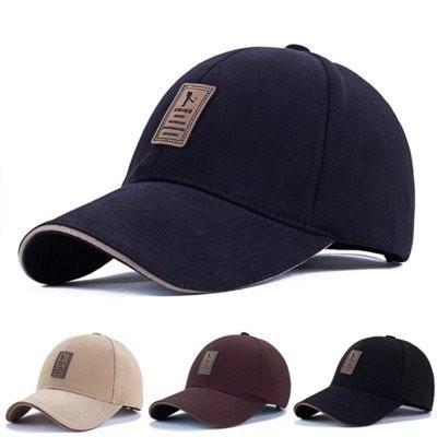 男士女士 精緻高爾夫球帽棉質加厚皮面貼標硬挺有型棒球帽鴨舌帽老帽彎帽子K605