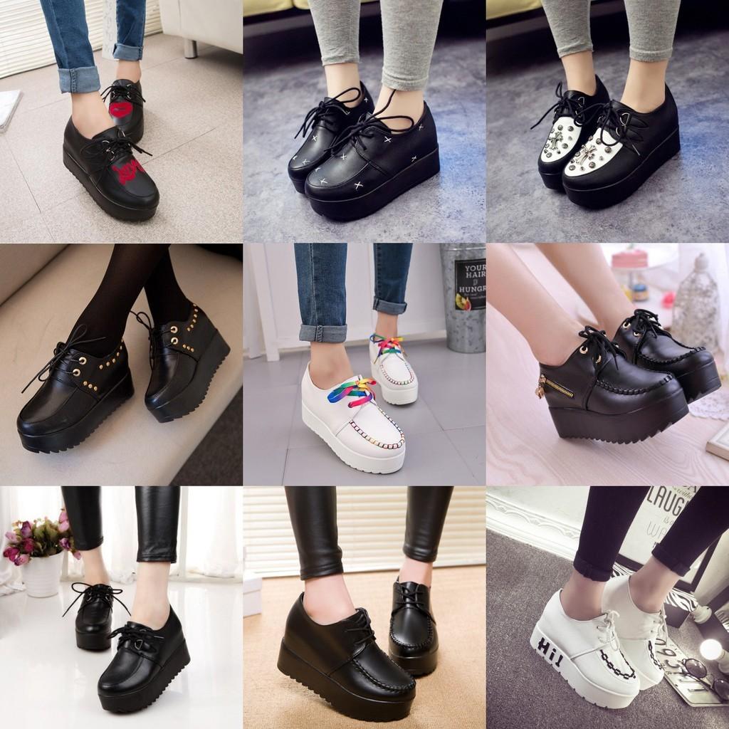 小光頭商店春 原宿內增高松糕鞋坡跟英倫樂福鞋高跟厚底單鞋女鞋