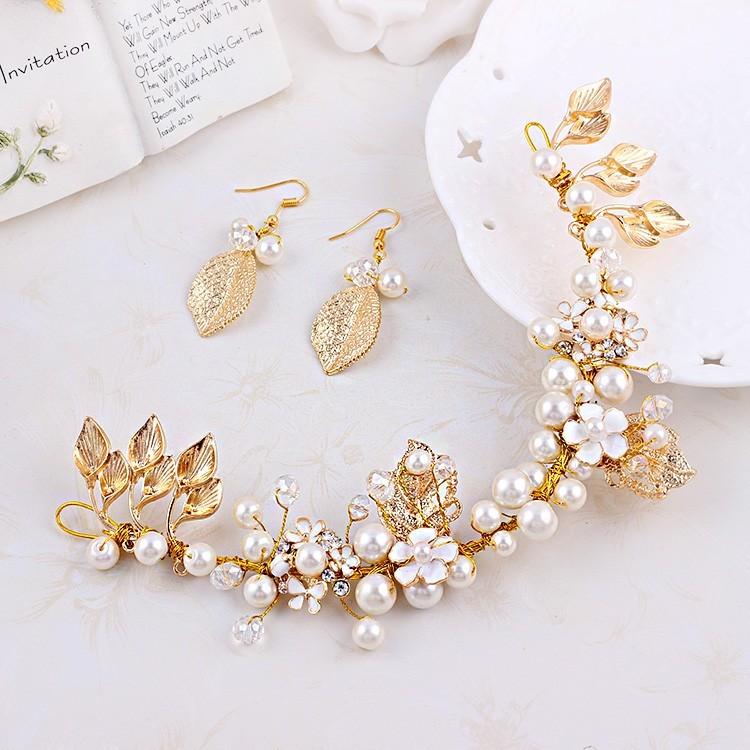 新娘頭飾金色樹葉飾品 軟發飾歐式復古巴洛克風結婚禮服配飾