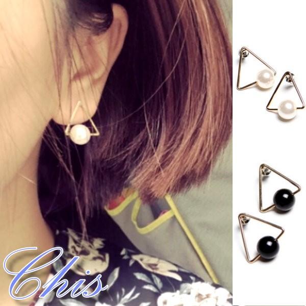 Chis Store ~三角形大珍珠耳環~韓國 極簡風簡單簡約幾何圖案結構主義復古風耳針韓