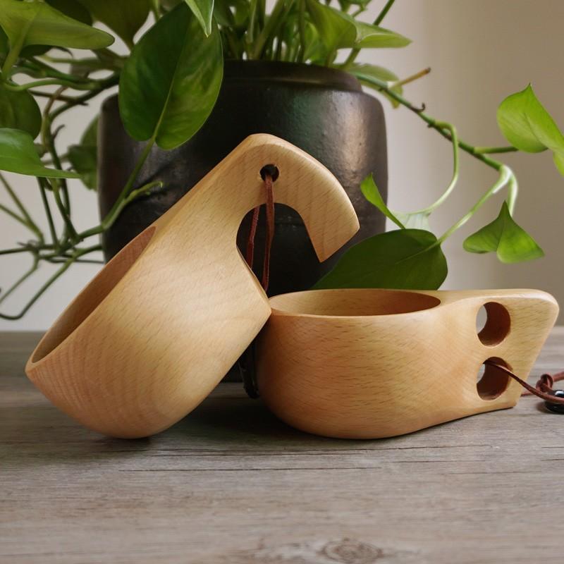 KUKSA 芬蘭橡膠木原木杯子木質杯木頭杯子兒童牛奶杯手柄木杯戶外咖啡杯