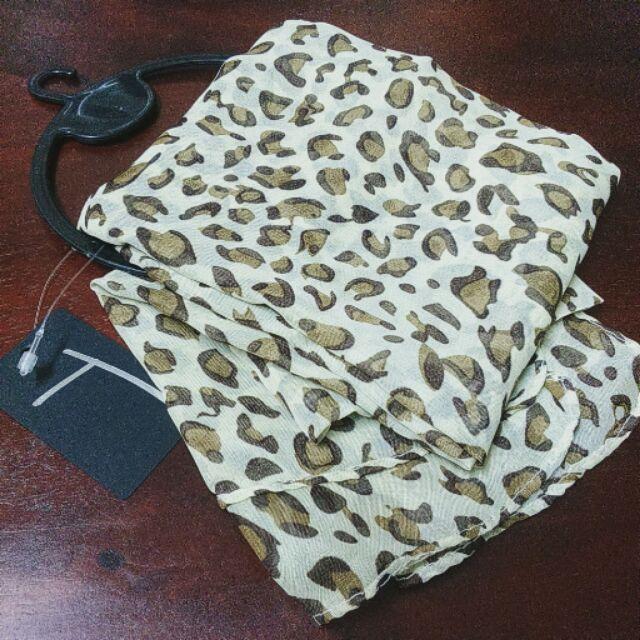 雪紡紗百搭豹紋圍巾
