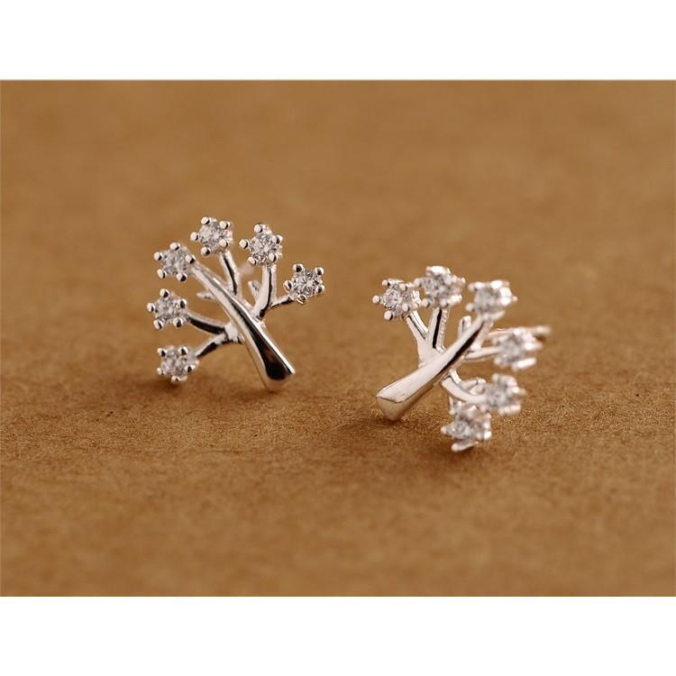 """~茉莉花""""~❤甜美許願樹鑲鑽純銀耳環❤"""