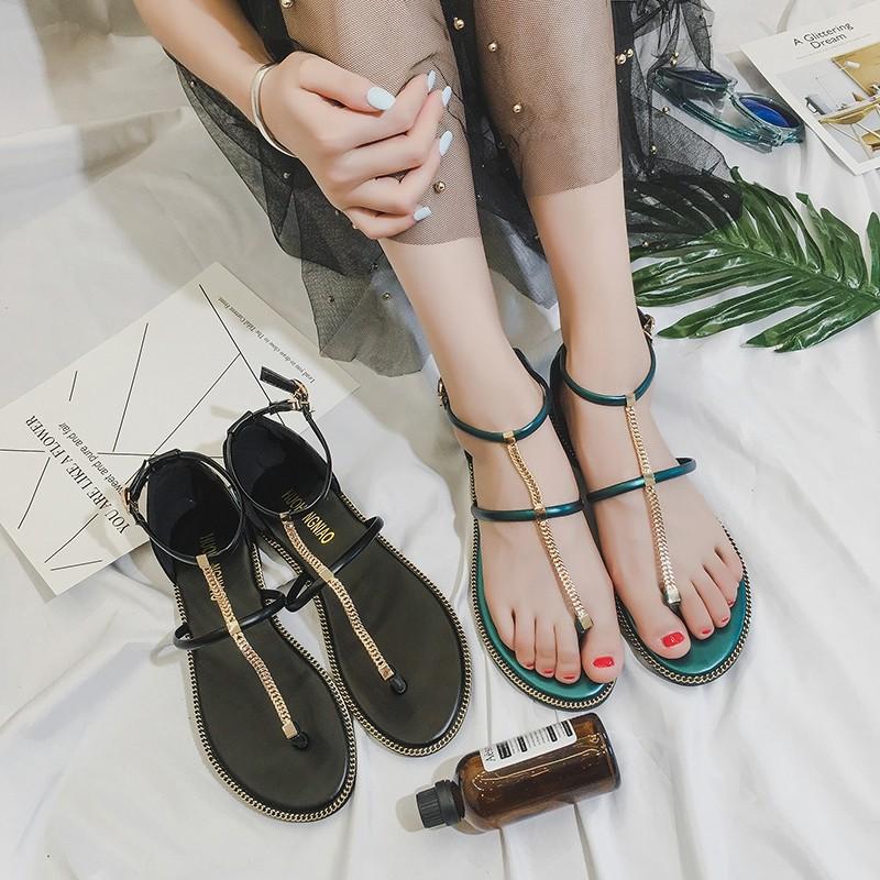 2017 平底涼鞋女夏鏈條細帶平跟一字扣帶夾腳趾百搭羅馬鞋