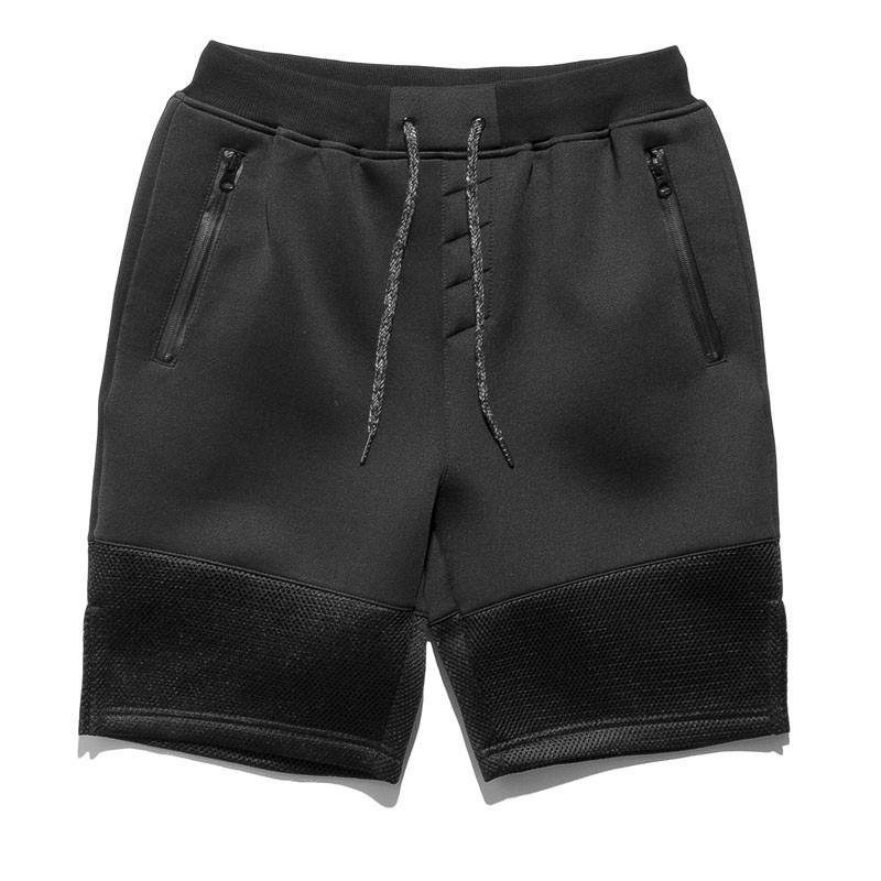 原創HIGH STREET 太空棉網布拼接 黑色休閒短褲街頭滑板春夏