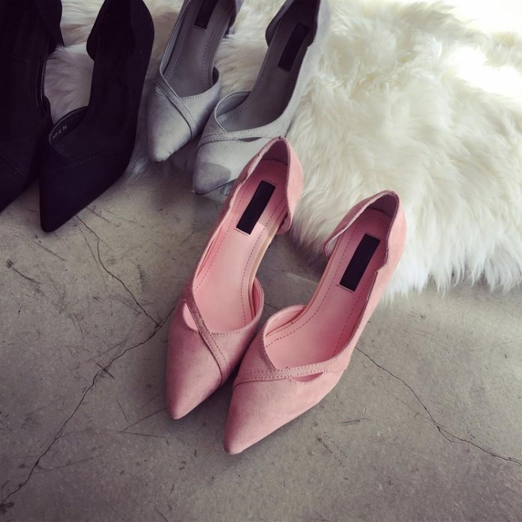 Doubble 2016 春秋 女鞋尖頭高跟鞋粗跟淺口性感顯瘦側空優雅粗跟鞋
