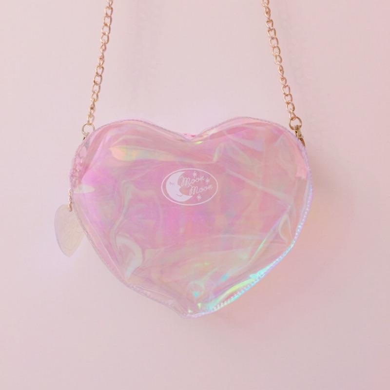 原宿日系鐳射愛心背包可愛透明單肩包側背包手機包小包包鏈條包少女心果凍包防水