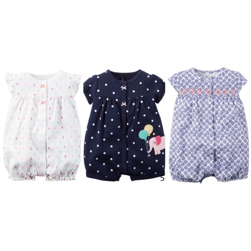 美國卡特短袖 春夏女寶寶蝴蝶袖前釦哈衣連身衣兔裝女童幼童