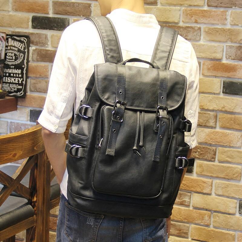 雙肩包男 潮流日 學院風青年 學生書包皮旅行背包男潮書包肩背包側背包公事包男商務包男生包包