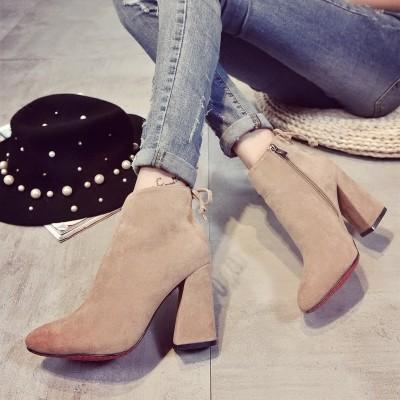 ☞☞☞ギケグn2016 歐洲站明星同款短靴尖頭粗跟高跟女靴女式足踝靴 單靴子潮