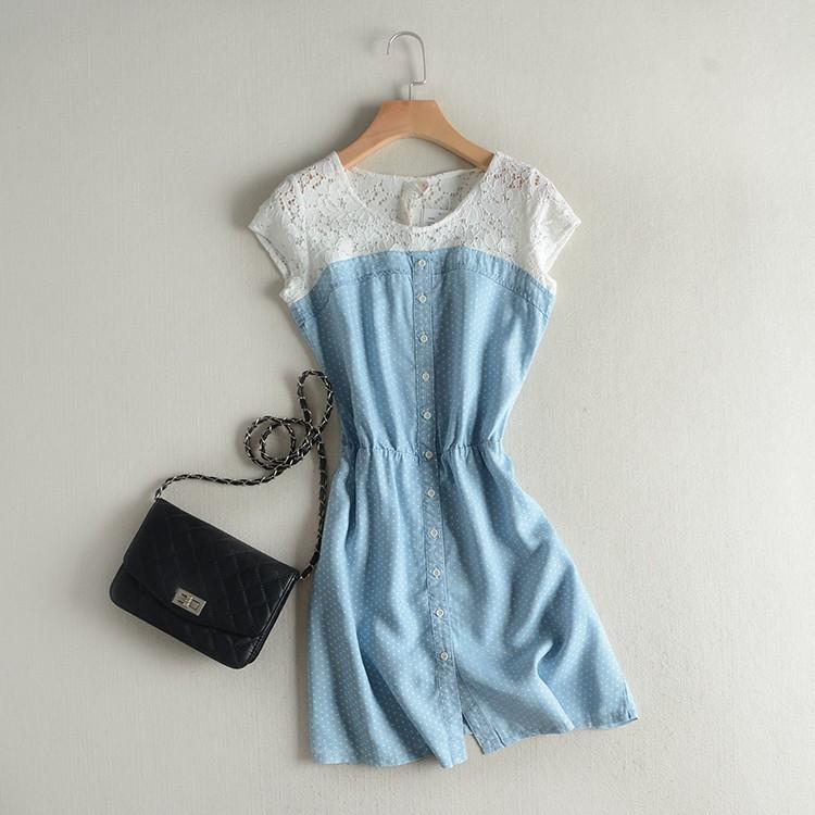 修身顯瘦蕾絲拼接鬆緊腰波點連衣裙