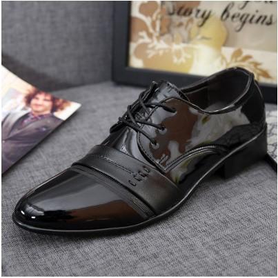 作皮鞋黑色系帶婚鞋休閒皮鞋春 男士潮流 內增高男鞋漆面工