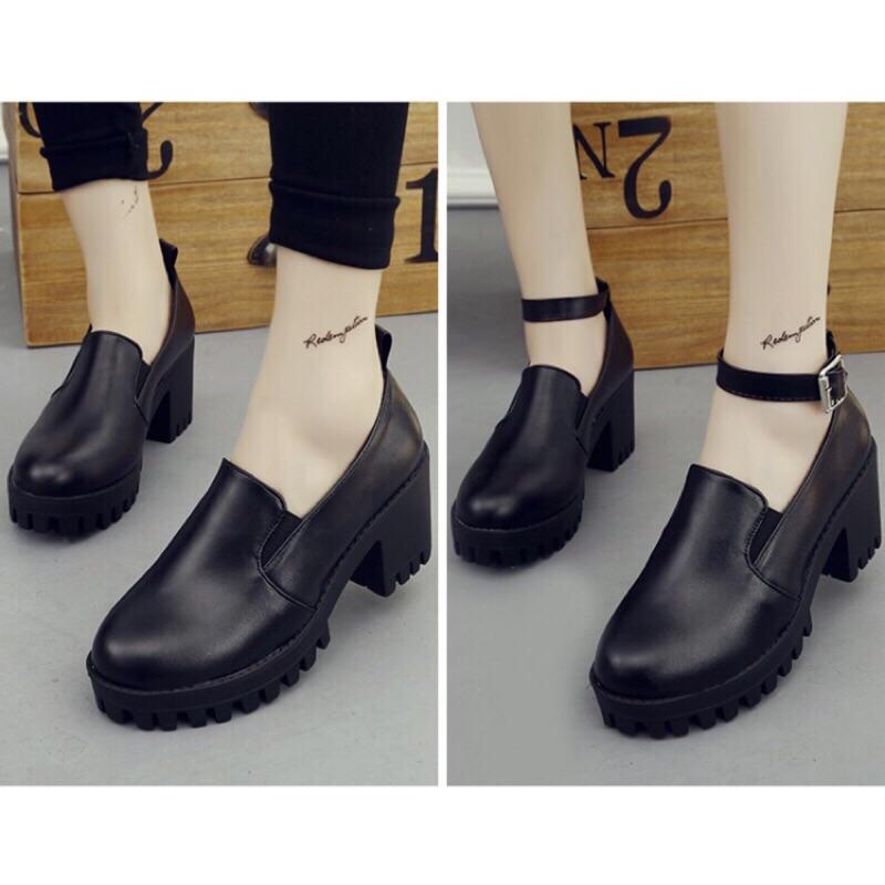 2016 潮春夏 高跟小皮鞋厚底粗跟復古英倫風松糕單鞋一字扣女鞋
